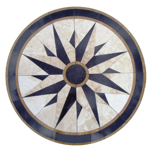 - Tile Floor Medallion Marble Mosaic Compass North Star Design 40