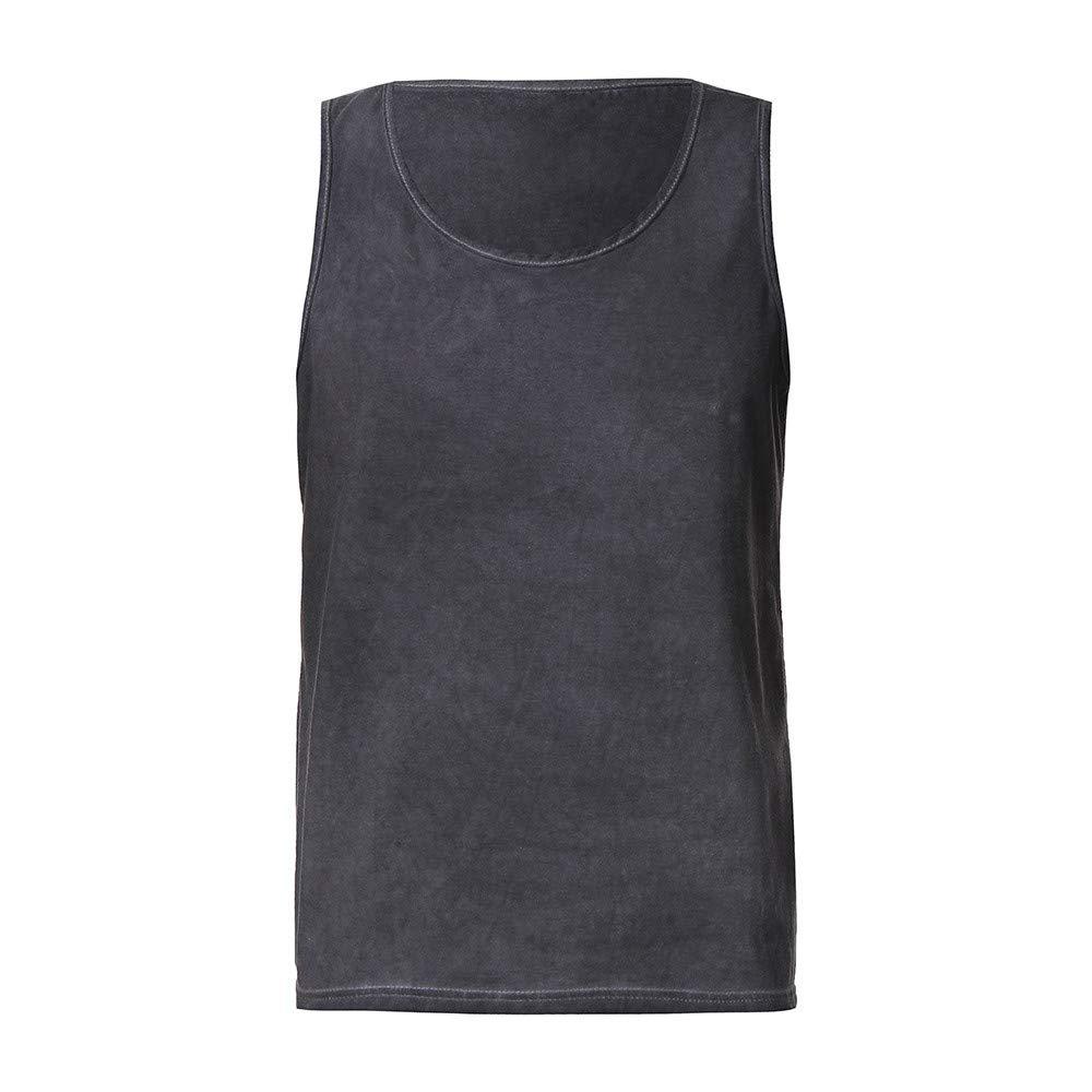 AopnHQ Mens Shirt Abdominal Slim Casual Sleeveless Solid Color Tank Top