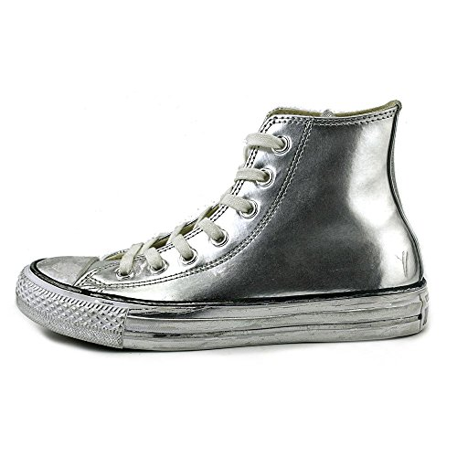 All Star Hi Leather Unisex Plateado/blanco