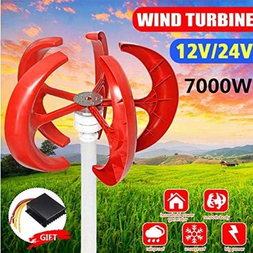SISHUINIANHUA 7000W Vertikale Windkraftanlagen Generator Lantern Motor Kit 5 Blades 12V 24V Elektromagnetische Für Privatanwender Hybrids Straßenbeleuchtung Verwenden,24v