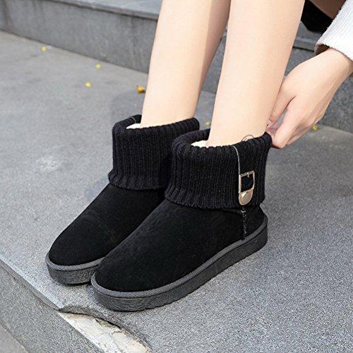 Courtes Noir Classiques Femme Pantoufles Chausson Femmes Bottes Boots Hiver BIUBIONG xn6q8wZUpW