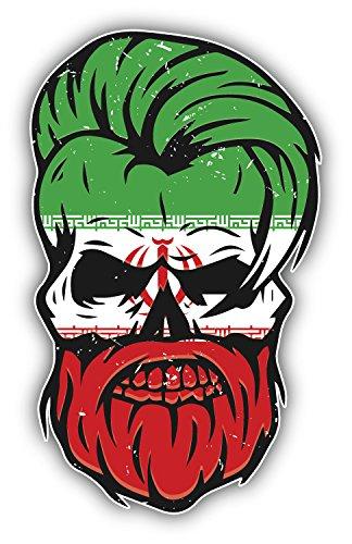 Grunge beard skull iran flag sticker decal design 3