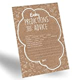 Baby : 60-Pack Gender Prediction Cards, Gender Neutral Baby Prediction Cards for Gender Reveal & Baby Shower, Rustic Baby Prediction and Advice Cards, Gender Neutral Party Favors for New Parents