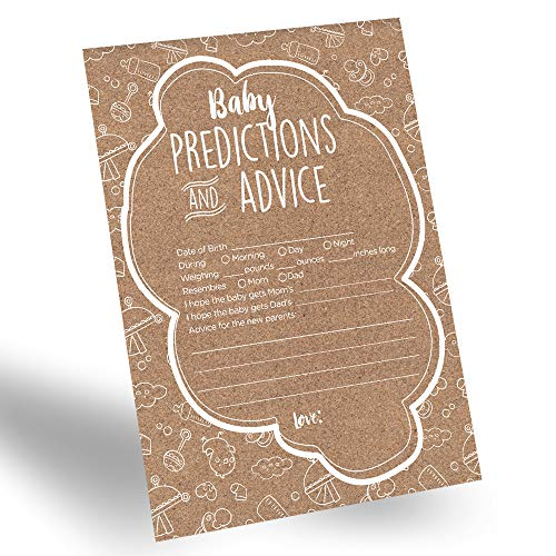 60-Pack Gender Prediction Cards, Gender Neutral Baby Prediction Cards for Gender Reveal & Baby Shower, Rustic Baby Prediction and Advice Cards, Gender Neutral Party Favors for New Parents