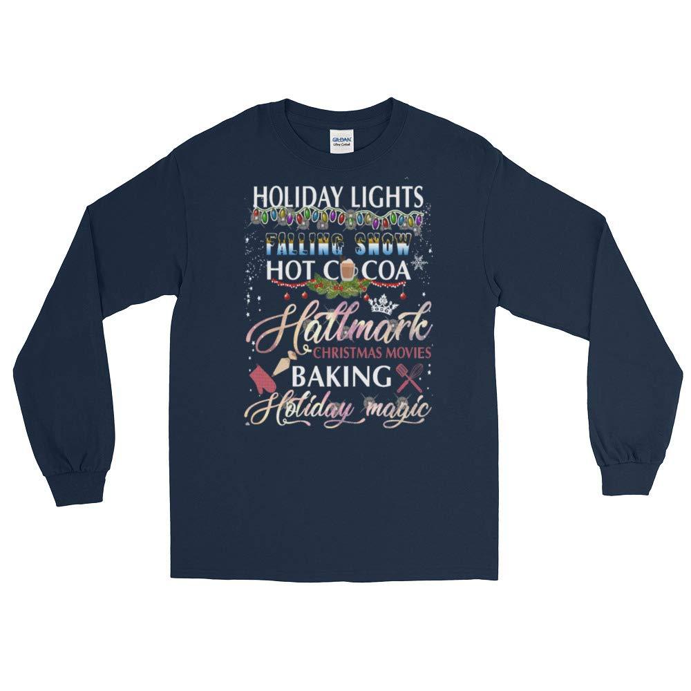 Holiday Lights Falling Snow Hot Cocoa Hallmark Christmas Long Shirt Watching Hallmark Movies Christmas