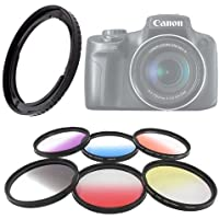 Vivitar 58mm Graduated Color 6 Piece Filters with Adapter for Canon SX40 Camera