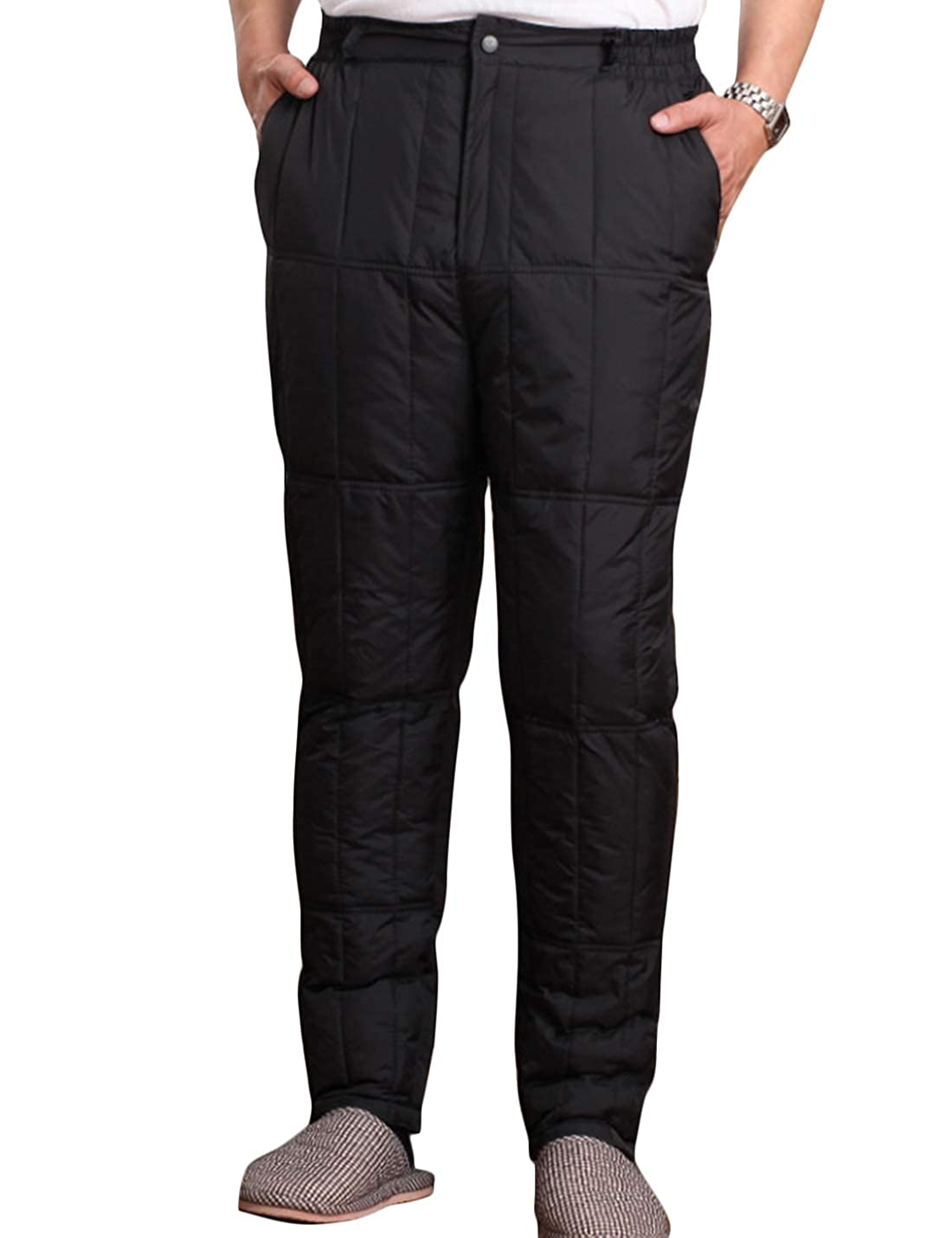 Yeokou Mens Winter Warm High Waist Cotton Padded Quilted Puffer Down Pants