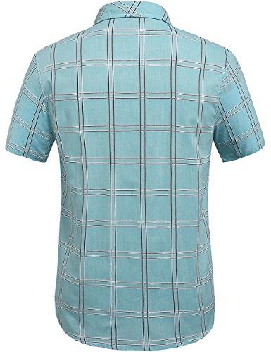 SSLR Men's Straight Fit Short Sleeve Gingham Shirt