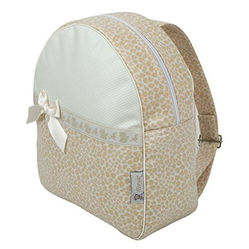 979383cd3 Delicado BORDAYMAS  Mochila o bolsa infantil personalizada con nombre en  plastificado beige y detalle de
