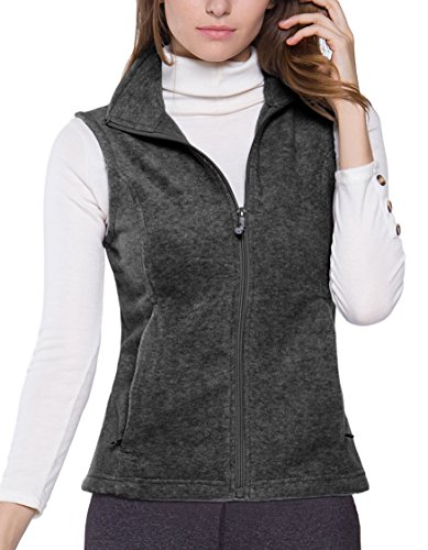 (Oalka Women's Spring Fall Full Zip Fleece Vest Charcoal XL)