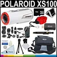 Polaroid XS100 Wi-Fi Extreme Edition HD 1080p 16MP Waterproof Sports Action Video Camera with Helmet & Bike Mounts + Polaroid Floating Strap + 16GB Card + Deluxe Case + Polaroid Accessory Kit