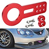 Dewhel Universal Car Auto Trailer Ring Tow hook Front Bumper Towing Anodized Billet CNC Aluminum Red
