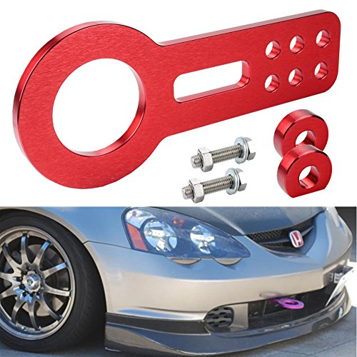 Dewhel Universal Car Auto Trailer Ring Tow hook Front Bumper Towing Anodized Billet CNC Aluminum Red by Dewhel