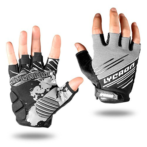 LYCAON Cycling Gloves, Silicone Gel EVA Padding Cushion Touch Screen with Skid Resistance Riding Bicycle Full/Half Finger Mitten for Mountain Road Bike Men Women (XL, Gray (Half Finger))