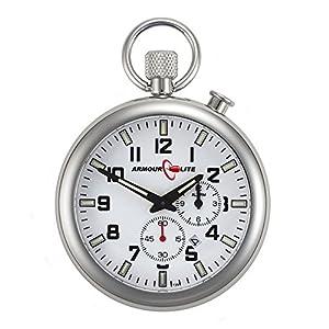 White Dial Alarm Clock Tritium Pocket Watch by Armourlite