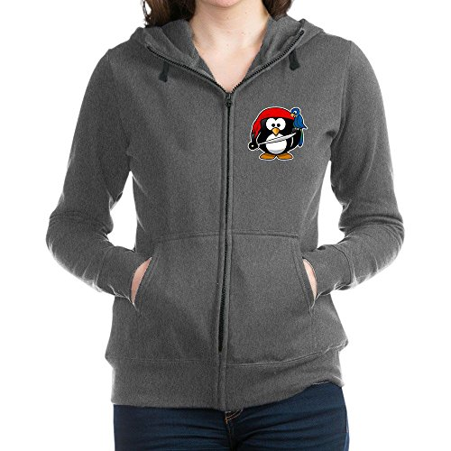 Truly Teague Women's Zip Hoodie (Dark) Little Round Penguin - Pirate & Parrot - Charcoal Heather, Large
