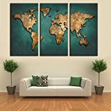 World Map Canvas Wall Painting Home Decor Vintage Large Canvas Print World Map Art Pictures For Office Living Meeting Room No Frame