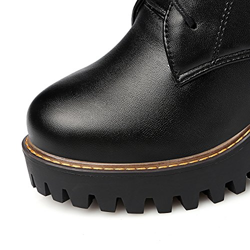 Imitated AdeeSu Girls Leather Boots Retro Buckle Black Solid IISpRUwxq