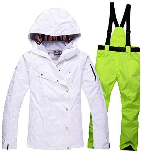 DYF Sport Ski Hat Manteau manche longue Zipper Bretelles Pantalon épaississeHommest,Blanc Vert,XL