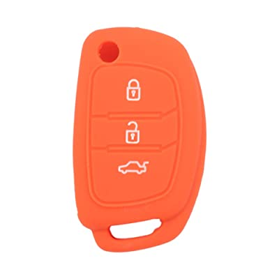 SEGADEN Silicone Cover Protector Case Skin Jacket fit for HYUNDAI 3 Button Flip Remote Key Fob CV9102 Orange: Automotive