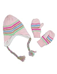 CTM® Toddler's Hat and Mitten Winter Set, Pink