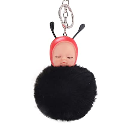 Gbell Cute Pom Pom Keychains-Fluffy Baby Doll Pom Puffy Ball Key Chains Bag  Cell Phone Charm Pendant Gifts for Girl Women,1Pcs 16X8CM,Hot