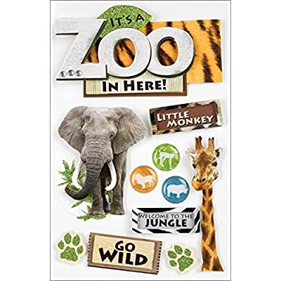 Paper House Productions STDM-0001E 3D Cardstock Stickers, Zoo