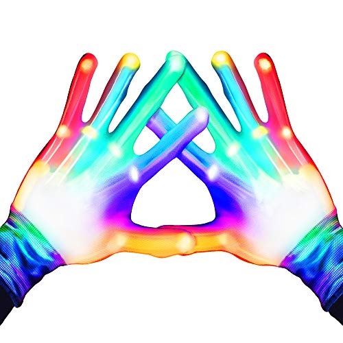 Toys for 3-12 Year Old Boys Girls, WIKI Colorful Flashing Finger Gloves for Kids Cool Toys for Teen Boys Girls Age 3-12 Birthday Gifts Presents for 3-12 Year Old Teen Boys Girls WKUSSTG05