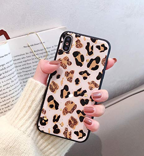 Losin Leopard Case Compatible with Apple iPhone 7 Plus Case, iPhone 8 Plus Case,Luxury Sparkling Glitter Foil Premium Glossy Cute Lovely Leopard Pattern Soft TPU Back Case ()