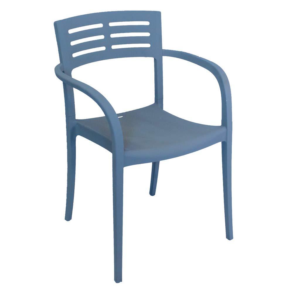 Grosfillex US633680 Vogue Stacking Armchair, Denim Blue (Case of 16)