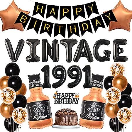 Decoración de whisky para 30 cumpleaños para hombres, diseño vintage de 1991 cumpleaños, fiesta de cumpleaños, pancarta de cumpleaños, decoración de tartas, globos de botella de whisky