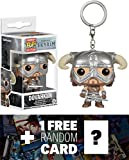 Dovahkiin: Pocket POP! x The Elder Scrolls V - Skyrim Mini-Figure Keychain + 1 FREE Video Games Themed Trading Card Bundle (086886)