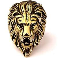 REBUY® Golden Lion Face Stainless Steel Ring For Men