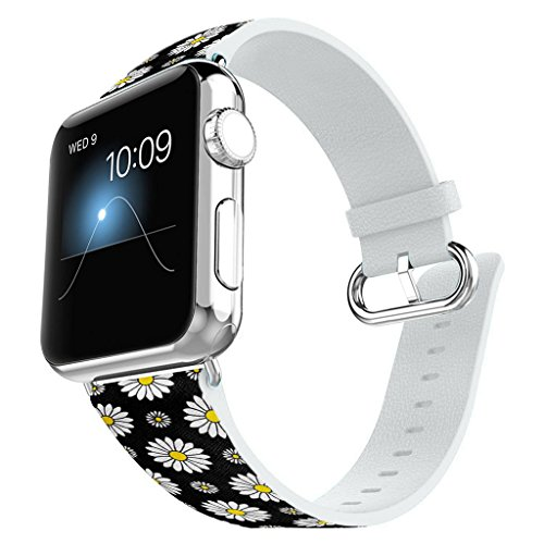 Compatible for Apple Watch 42MM Leather Band iWatch Band Replacement Bracelet Strap for Apple Watch Sport and Edition 42mm - Beautiful Daisy