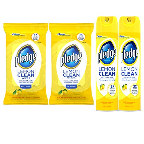 Pledge Lemon Bundle: Clean Furniture Spray (9.7 oz, 2 ct), Wipes (24 ct, 2 ct) - Pledge Dust