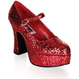 Funtasma by Pleaser Women's Platform Mary Jane, Red Glitter