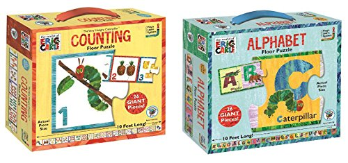 Eric Carle Alphabet and Counting Floor Puzzle Bundle of Two Puzzles
