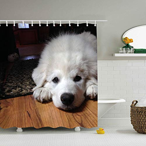Puppy Dogs Baby Great Pyrenees Cute Shower Curtain Mildew Resisant Fabric Bathroom Curtain, Water Repellent 71 × 78 inch ()