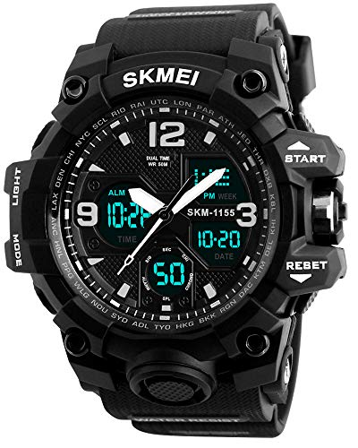 Mens Analog Sports Watch, LED Military Wrist Watch Large Dual Dial Digital Outdoor Watches Electronic Malfunction Two Timezone Back Light Water Resistant Calendar Day Date - Black