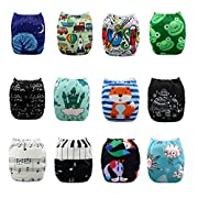 AlVABABY Baby Reuseable Washable Pocket Cloth Diapers /Free Cute Doll for Baby /12 PCS + 24 Inserts 12ZC7