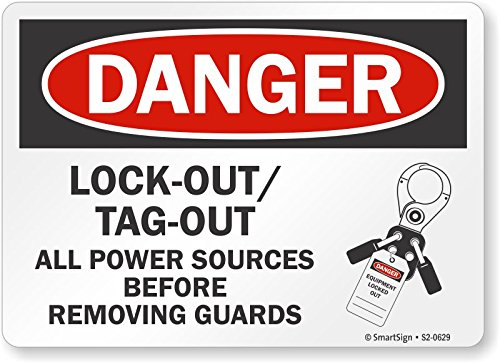 Lock-Out//Tag-Out All Power Sources Aluminum Sign Smartsign S2-0629-AL-10Danger