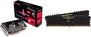 Sapphire Technology 11265-67-20G Radeon Pulse RX 580 8GB GDDR5 Dual HDMI / Dual DP OC w/ Backplate (UEFI) & Corsair Vengeance LPX 16GB (2x8GB) DDR4 DRAM 3200MHz C16 Desktop Memory Kit - Black