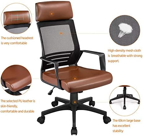 YAHEETECH Ergonomic Mesh Office Chair with Leather Seat, High Back Task Chair with Headrest, Rolling Caster for Meeting Room, Home Brown 512m4t6DRQL