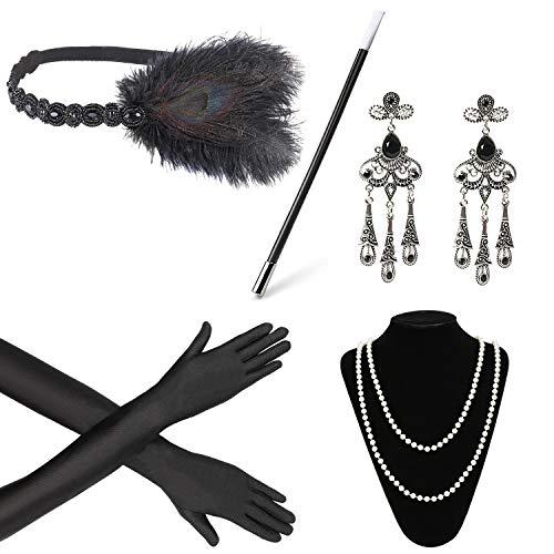 Beelittle 1920s Accessories Headband Earrings Necklace Gloves Cigarette Holder (E1) -