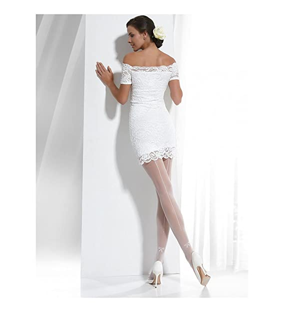 Conte elegant White Bridal Pantyhose Tights with Back Seam and Rhinestones  - Wedding Event