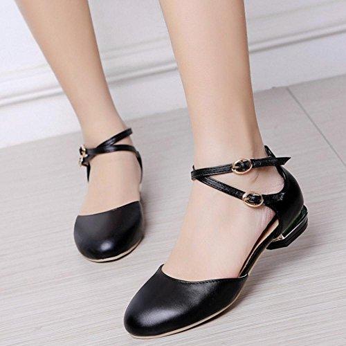TAOFFEN Women Closed Toe Flat Sandals Shoes Black-9 r7fSy78FIf