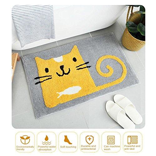 WDDH Cute Cartoon Animal Non-Slip Bath Mat Thick Double Layer Soft Shaggy Microfiber Bathroom Rugs for Bedroom Sofa Office Living Room