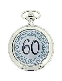 Boxx Happy 60th Birthday White Dial Gents Pocket Watch 12 Inch Chain Boxx316