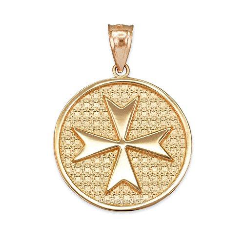 14K Yellow Gold Knights Templar Maltese Cross Medal Pendant