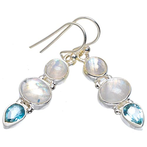 925 SOLID STERLING SILVER RAINBOW MOON STONE AMETHYST TURQUOISE STUD EARRING